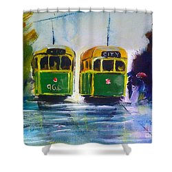 Melbourne Trams Shower Curtain by Therese Alcorn