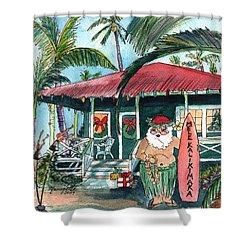 Mele Kalikimaka Hawaiian Santa Shower Curtain