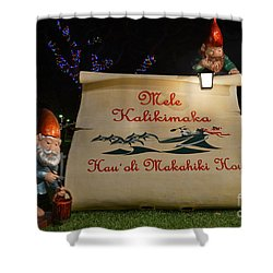 Mele Kalikimaka Sign And Elves Shower Curtain