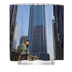 Mellon Bank Center Penn Center Market West Skyscrapers Phila Pa Shower Curtain by David Zanzinger
