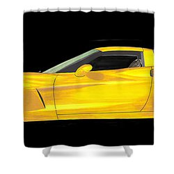 Mellow Yellow Corvette C 6 Shower Curtain