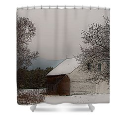 Shower Curtain featuring the photograph Melvin Village Barn by Brenda Jacobs