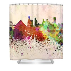 Memphis Skyline In Watercolor Background Shower Curtain by Pablo Romero