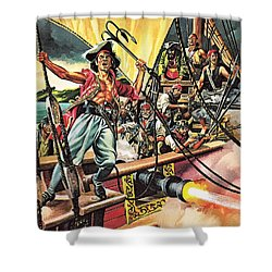 Men Of The Jolly Roger Shower Curtain by Ron Embleton