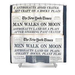 Men Walk On The Moon Shower Curtain