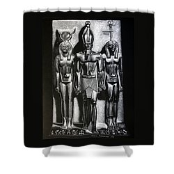 Shower Curtain featuring the painting Menkaure Triad by Leena Pekkalainen