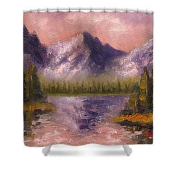 Shower Curtain featuring the painting Mental Mountain by Jason Williamson