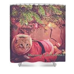 Meowy Christmas Shower Curtain