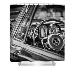 Mercedes-benz 250 Se Steering Wheel Emblem Shower Curtain by Jill Reger