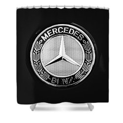 Mercedes-benz 6.3 Gullwing Emblem Shower Curtain by Jill Reger