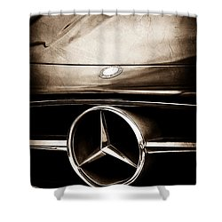 Mercedes-benz Grille Emblem Shower Curtain by Jill Reger