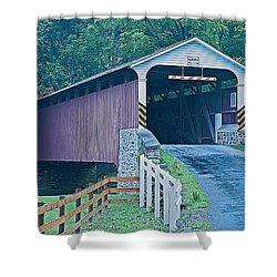 Mercer's Mill Covered Bridge Shower Curtain by Michael Porchik