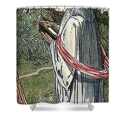 Shower Curtain featuring the drawing Merlin The Magician, 1923 by Granger
