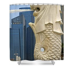 Merlion Statue By Singapore River Shower Curtain by David Gn