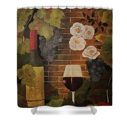 Shower Curtain featuring the painting Merlot For The Love Of Wine by John Stuart Webbstock