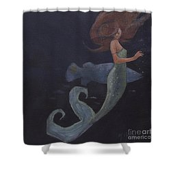 Mermaid And The Blue Fish Shower Curtain