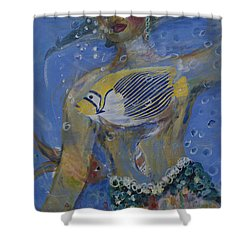 Shower Curtain featuring the painting Mermaid by Avonelle Kelsey