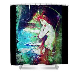 Shower Curtain featuring the digital art Mermaid Of The Tides by Absinthe Art By Michelle LeAnn Scott