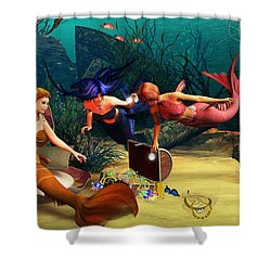 Mermaid Treasures Shower Curtain
