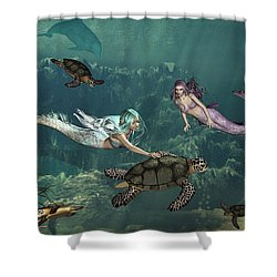 Mermaids At Turtle Springs Shower Curtain