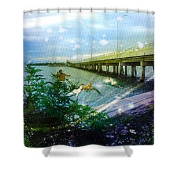 Shower Curtain featuring the digital art Mermaids In Indian River by Megan Dirsa-DuBois
