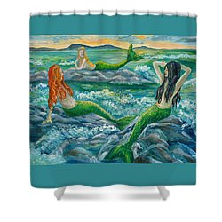 Mermaids On The Rocks Shower Curtain