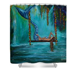 Mermaids Tranquility Shower Curtain by Leslie Allen