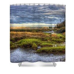 Merrimack River Marsh Shower Curtain