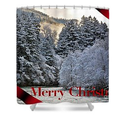 Merry Christmas Card Shower Curtain by Belinda Greb
