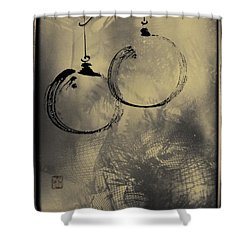 Shower Curtain featuring the mixed media Merry Christmas Card by Peter v Quenter