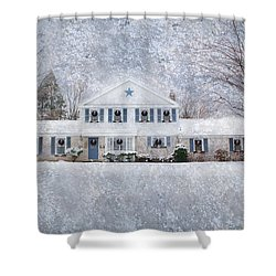Wintry Holiday Shower Curtain by Shelley Neff