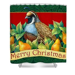 Merry Christmas Partridge Shower Curtain