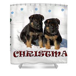 Merry Christmas Puppies Shower Curtain