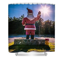 Merry Christmas Santa Claus Greeting Card Shower Curtain by Edward Fielding