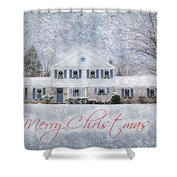 Wintry Holiday - Merry Christmas Shower Curtain