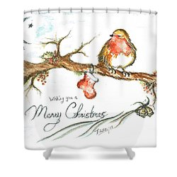 Merry Christmas Robin Shower Curtain