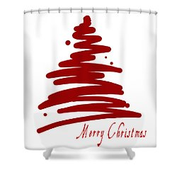 Merry Christmas Tree - Red Shower Curtain