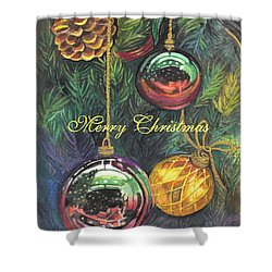 Merry Christmas Wishes Shower Curtain