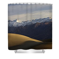 Shower Curtain featuring the photograph Mesquite Dunes And Grapevine Range by Joe Schofield