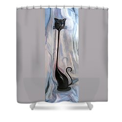 Shower Curtain featuring the painting Metal Cat by LaVonne Hand