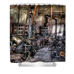 Metal Worker - Belts And Pullies Shower Curtain by Mike Savad