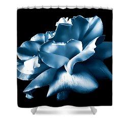 Metallic Blue Rose Flower Shower Curtain by Jennie Marie Schell