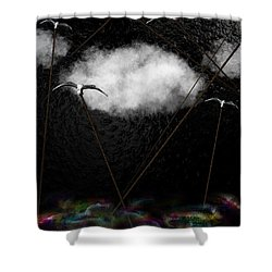 Metallic Seagulls Suspended Over A Rainbow Ocean Shower Curtain