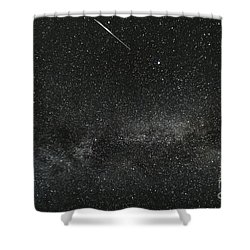 Meteor With The Milky Way Shower Curtain
