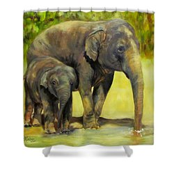 Thirsty, Methai And Baylor, Elephants  Shower Curtain