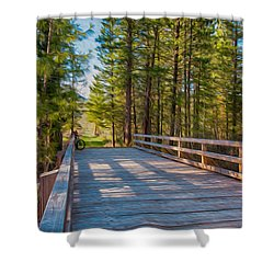Methow Valley Community Trail At Wolf Creek Bridge Shower Curtain by Omaste Witkowski