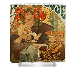 Meuse Beer Shower Curtain by Alphonse Marie Mucha