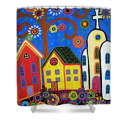 Mexican Church Town Shower Curtain