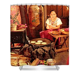 Mexican Girl Making Tortillas Shower Curtain by Roupen  Baker
