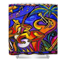 Latin Music Shower Curtain by Leon Zernitsky